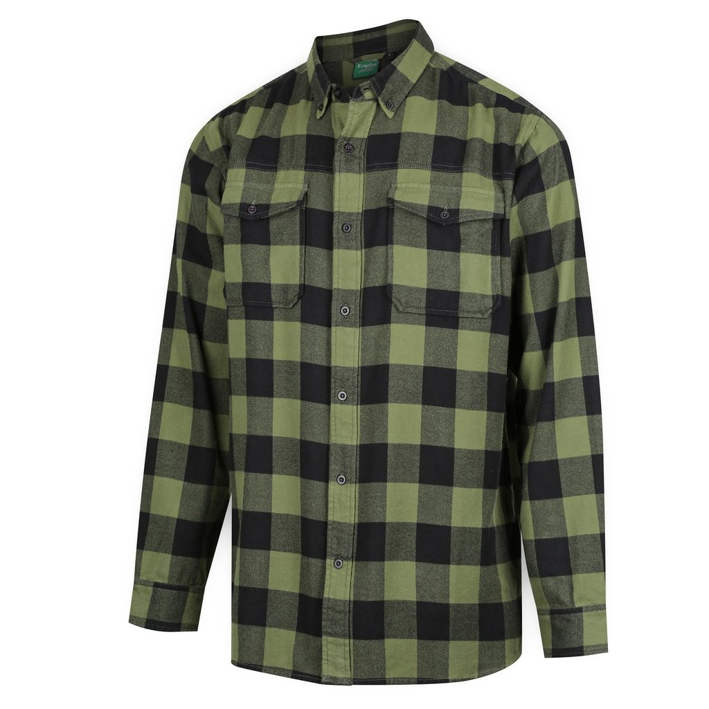 Ridgeline Mens Organic Check Shirt Olive Sz M at Bowral Coop