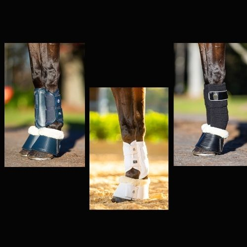 BARE Horse Wear - Carbon Bell Boots - Navy Size L (Set of 2) at Bowral Coop