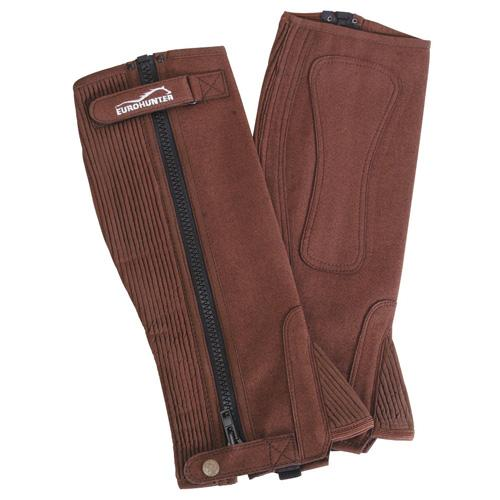 Eurohunter Leather Chapettes with Zipper Brown XSmall at Bowral Coop