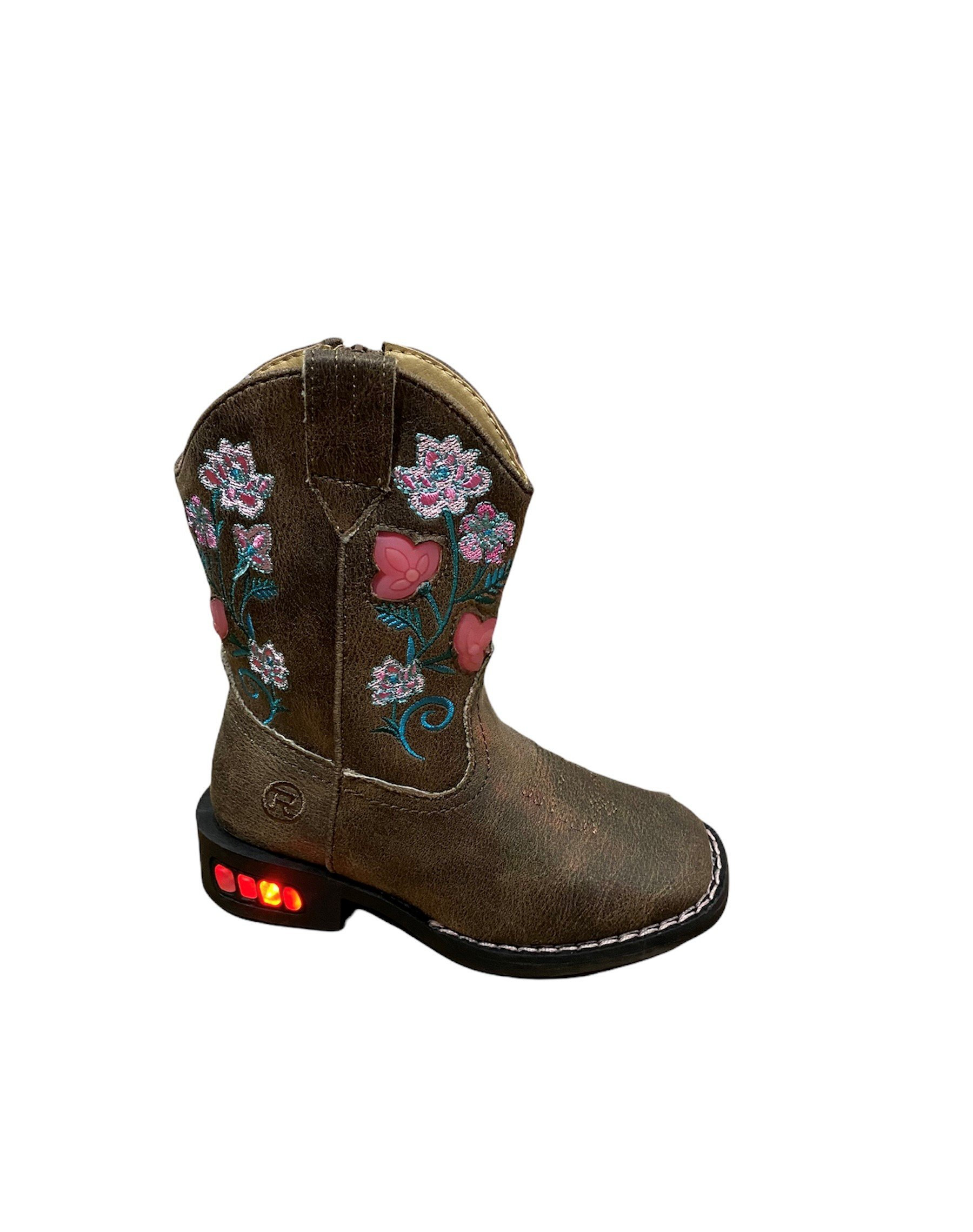 Ariat Girls Roper Dazzle Floral Light Up Boots Size 1 at Bowral Coop